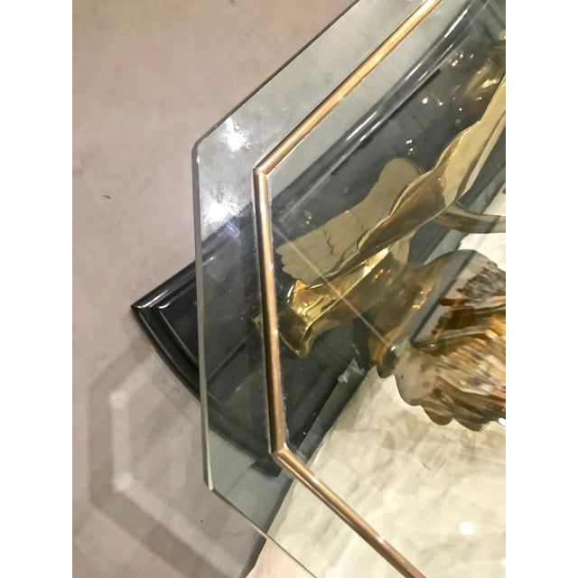 1980s Brass and Glass Swan Console Table For Sale - Image 5 of 8