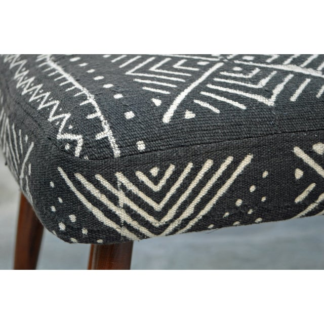 Mid-Century Footstool With African Mudcloth - Image 6 of 7