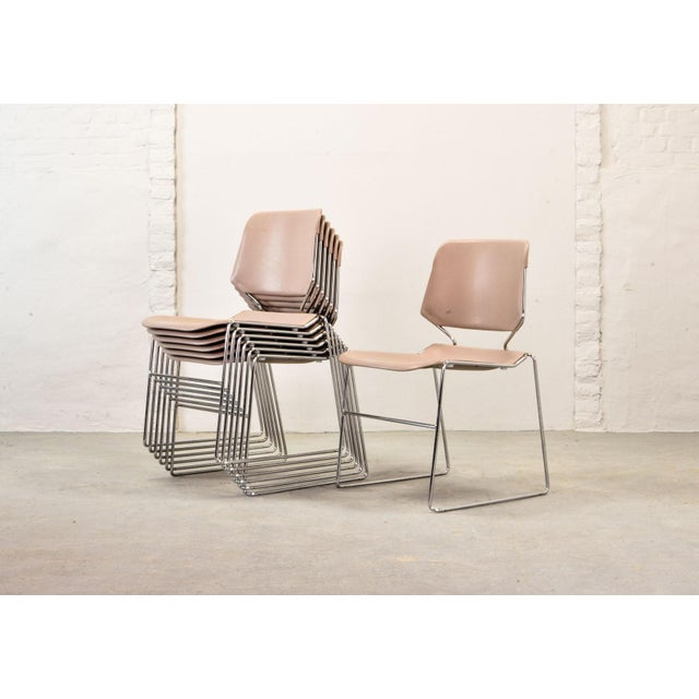 Silver Set of Seven Mid-Century Muted Pink Stackable Dining Chairs by Thomas Tolleson for Matrix Krueger, Usa, 1970s For Sale - Image 8 of 13