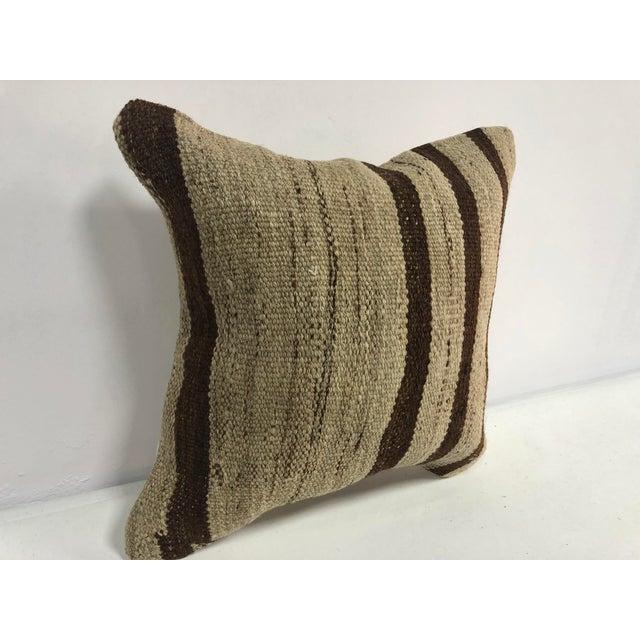 Boho Chic Turkish Stripe Design Anatolian Kilim Pillow For Sale - Image 3 of 6