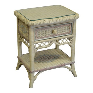 Lexington Henry Link Victorian Style Painted Wicker Nightstand