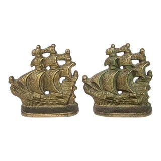 Vintage Ship Bookends - Pair For Sale