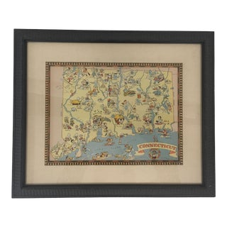 Framed Ruth Taylor White Map of Connecticut For Sale