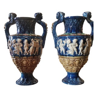 Pair of Palissy Majolica Urns For Sale