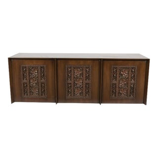 Robsjohn-Gibbings Asian Inspired Ornately Carved Credenza