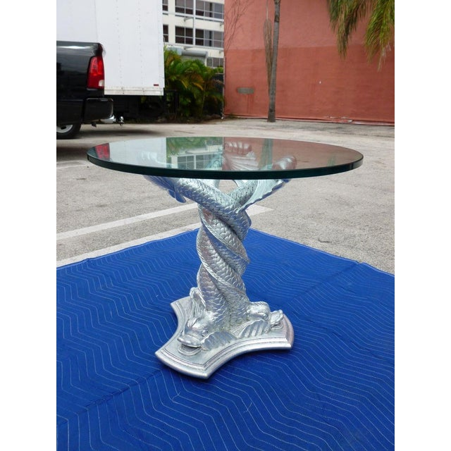 Chic Vintage Italianate Silver Leafed Carved Wood Table Intertwined Dolphins For Sale - Image 9 of 9