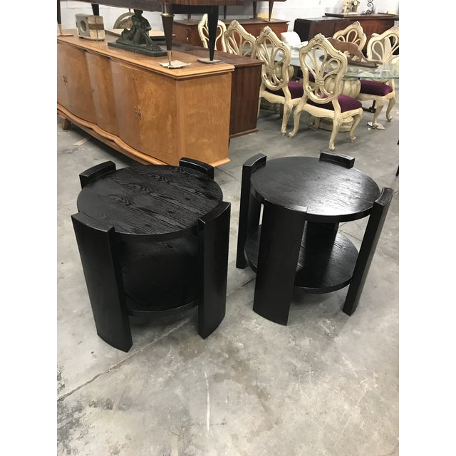 French Art Deco Solid Ebonized Cerused Oak Coffee Tables - A Pair - Image 10 of 11