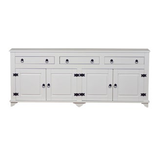Art Deco Style Lisa 4 Door White Pinewood Buffet Cabinet