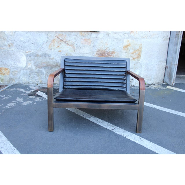 Contemporary Uhuru Design Breini Black Leather Armchair For Sale - Image 3 of 8