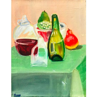 1960s Vintage Still Life with Bottle & Fruit Oil Painting
