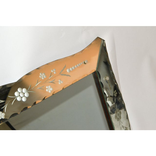 Glass Italian Mid-Century Modern, Faceted & Etched Venetian Wall Mirror For Sale - Image 7 of 13