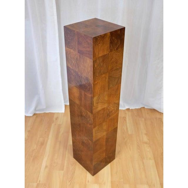 Vintage Milo Baughman-Style Architectural Walnut Pedestal For Sale In San Francisco - Image 6 of 10