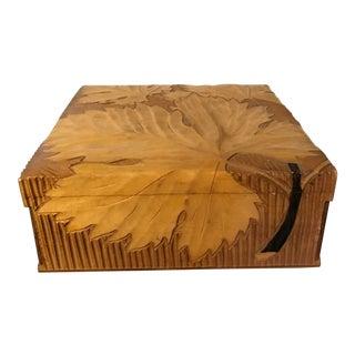 Vintage Wooden Twigs & Maple Leaves Trinket Box For Sale