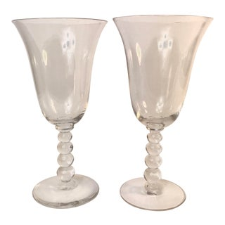 Mid 20th Century Candlewick Clear Water Goblets by Imperial Glass - a Pair For Sale