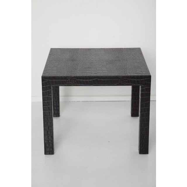 Quality pair of crocodile-embossed leather tables - unmarked After Karl Springer. Black with a slight hint of the brown in...