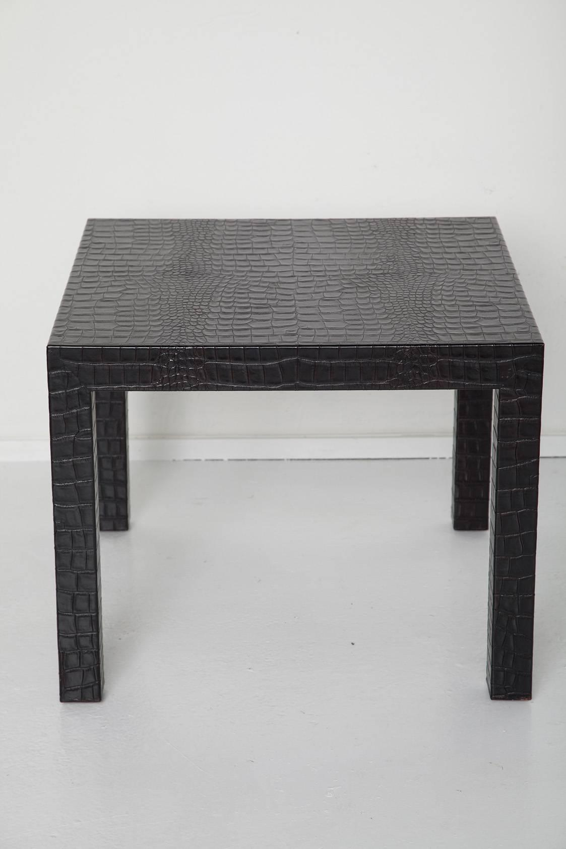 Black Alligator Embossed Leather End Tables   A Pair