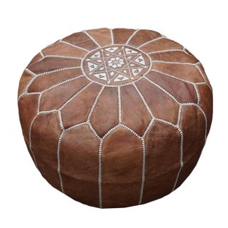 Modern Dark Tan Moroccan Handmade Leather Pouf For Sale