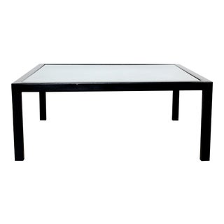 Contemporary Square Black Pastel & Glass Coffee Table Artist Lois Teicher For Sale