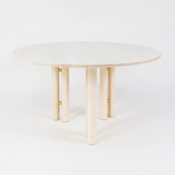 Not Yet Made - Made To Order Steven Bukowski Contemporary Martini Dining Table in Bleached Maple and Brass For Sale - Image 5 of 5