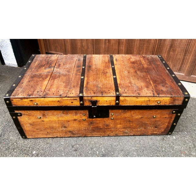 19th Century American Classical Wood and Iron Travel Trunk For Sale - Image 11 of 11