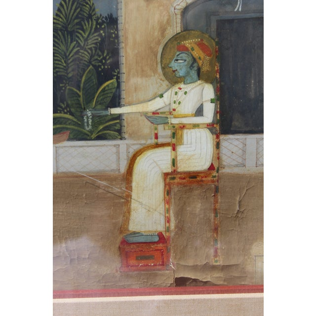 Nice 19/18 C. Indian Gouache Painting For Sale - Image 4 of 7