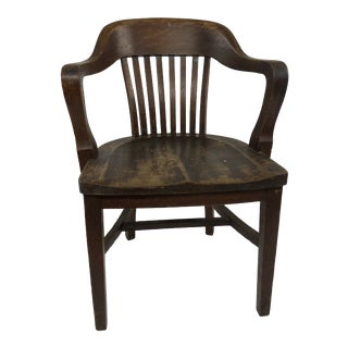 Vintage Industrial Wood Banker Chair For Sale