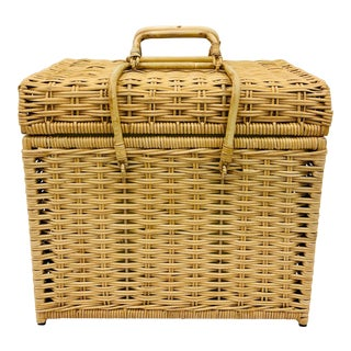 Woven Wicker Filing Box For Sale