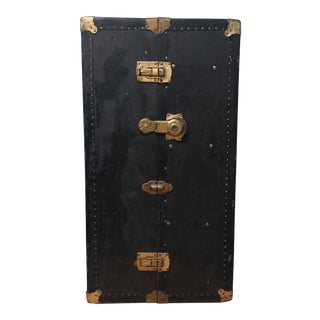 1890s Vintage Brass & Leather Wardrobe Trunk