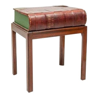 Leather Book on Mahogany Stand Side Table