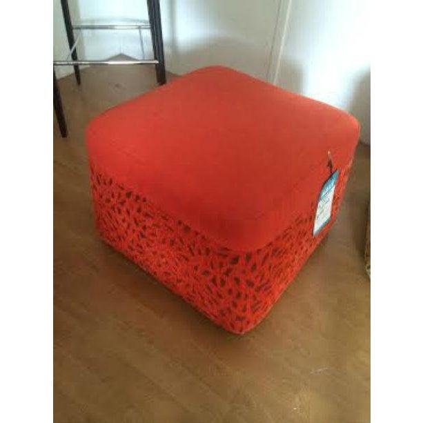 DellaRobbia Kenny Red Ottoman - Image 2 of 4