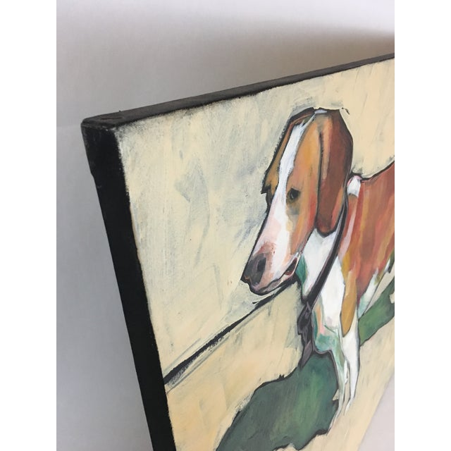 1990s Vintage Contemporary Beagle Dog Portrait Oil Painting Signed by Rise Delmar Ochsner For Sale - Image 11 of 13