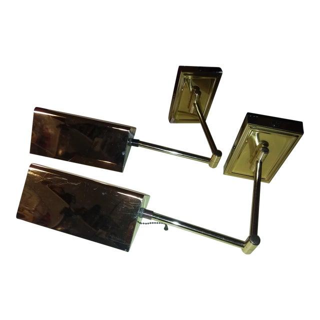 1970s Koch & Lowy Brass Swing Arm Sconces - a Pair For Sale