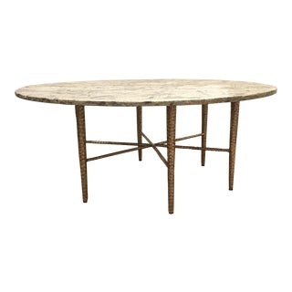 Studio a Modern Hammered Metal and Marble Cocktail Table For Sale