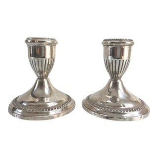Vintage George III-Style Sterling Silver Candle Holders - a Pair For Sale