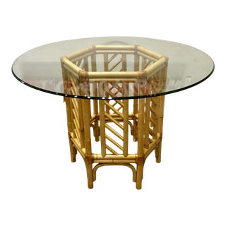 Rattan and Glass Top Center Table For Sale