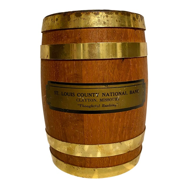 "1940s Vintage St. Louis County National Bank Clayton ""Thoughtful Banking"" Coin Barrel For Sale"