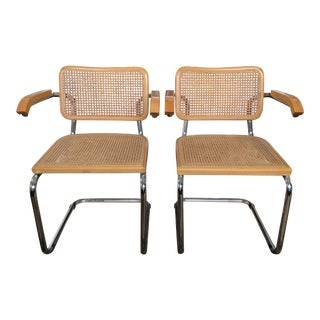 1950s Vintage Early Marcel Breuer Cesca Arm Chairs- A Pair For Sale