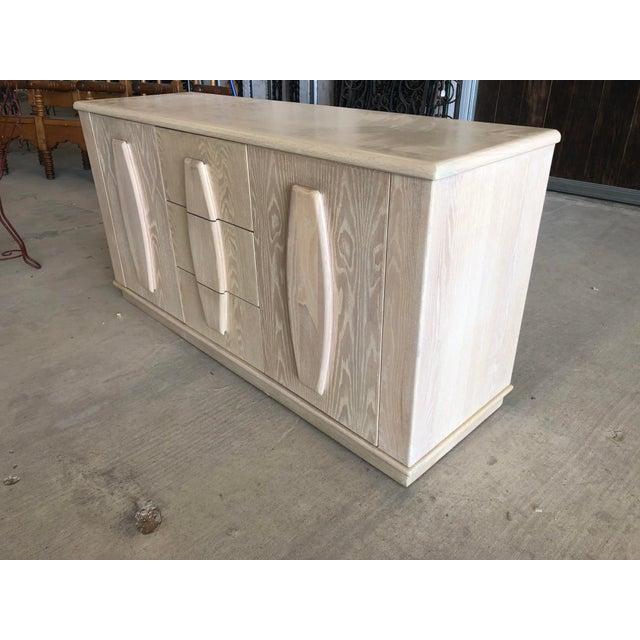 Modern Modern Cerused Oak Credenza For Sale - Image 3 of 9