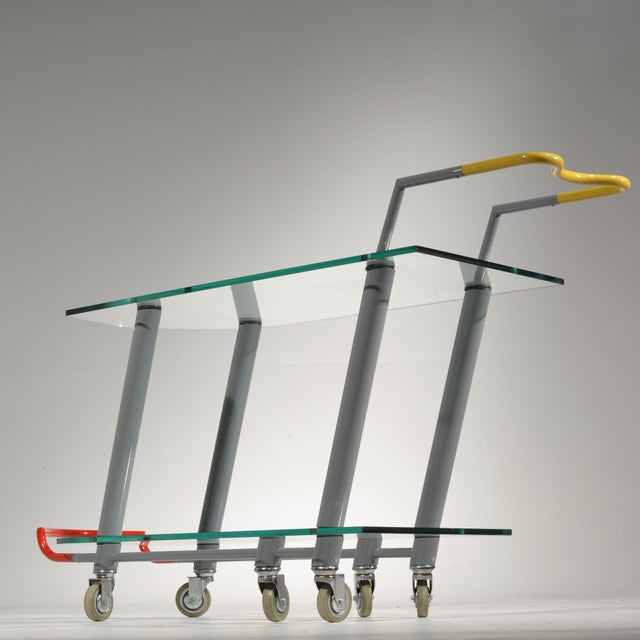 Yellow Hilton Trolly Bar Cart by Javier Mariscal for Memphis, 1981 For Sale - Image 8 of 13