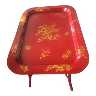 Chic Red Tole Tray Coffee/Tea Table