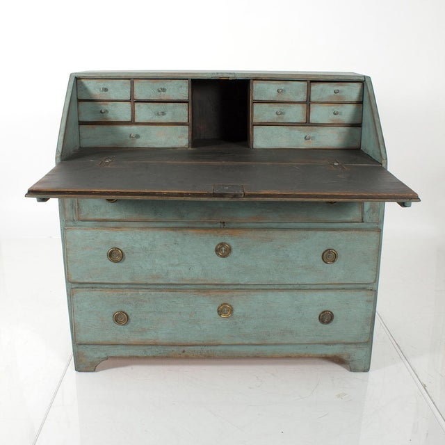 Blue-Painted Writing Desk For Sale - Image 4 of 4