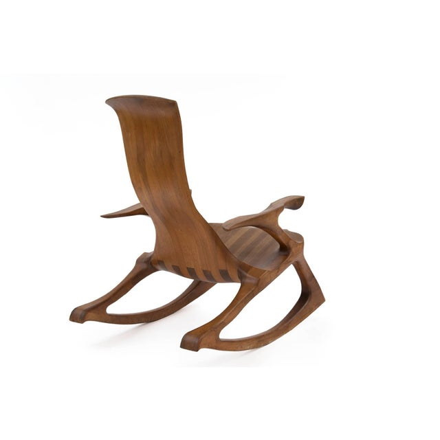 1980s Solid Walnut Studio Crafted Rocking Chair For Sale In Phoenix - Image 6 of 7