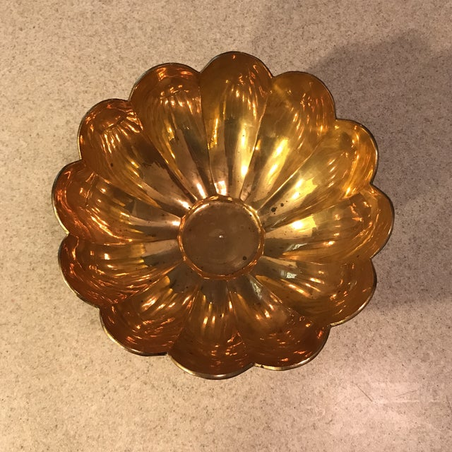Vintage Brass Scalloped Bowl For Sale In Charlotte - Image 6 of 10