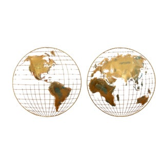 Brass Globe Wall Hangings by Curtis Jere - Set of 2 For Sale