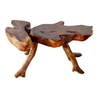 Handmade Island Divi Tree Root Trunk Teak Wood Table For Sale
