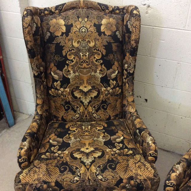 1980s Hollywood Regency Black & Gold High Back Chairs - a Pair For Sale - Image 5 of 11