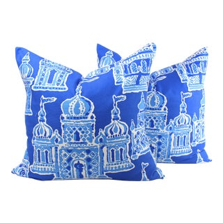 "Dana Gibrson for Stroheim's ""Occidental"" Blue & White Pillows - a Pair For Sale"