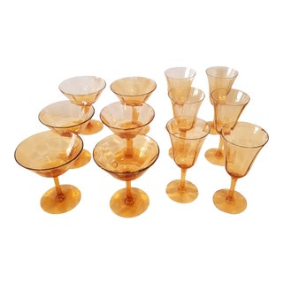Vintage Amber Colored Barware For Sale
