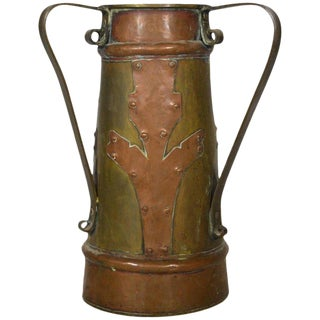 Vintage Indian Bi-Color Hand-Hammered Copper Pitcher, Early 20th Century For Sale