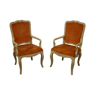 Baker French Country Style Painted Arm Chairs - A Pair For Sale